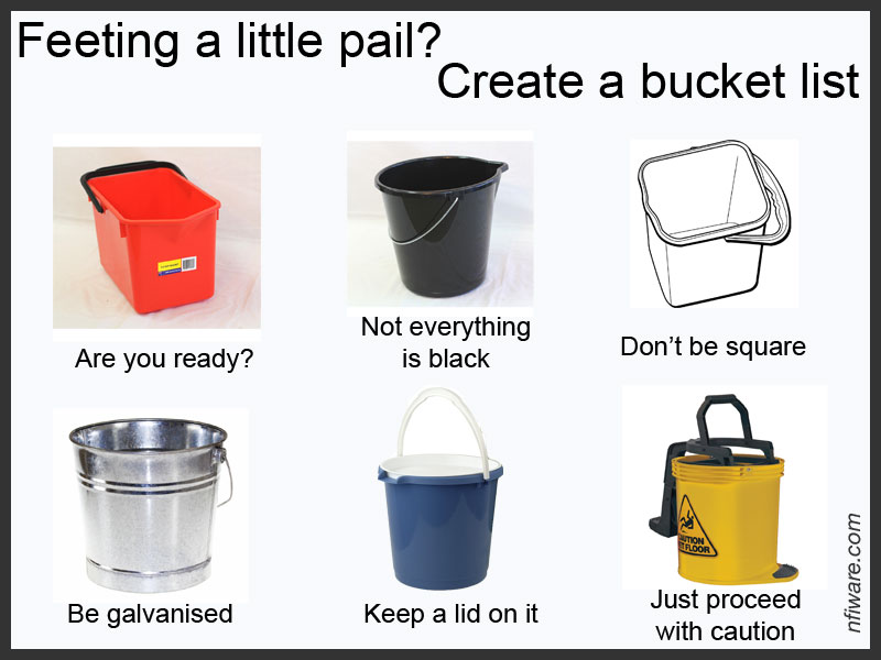 Feeling pail? Create a bucket list